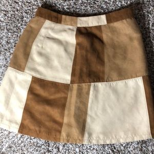 Suede patchwork skirt